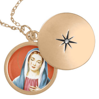 Mary and Jesus Gold Plated Necklace