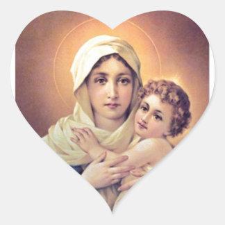 Mary and Jesus Heart Sticker