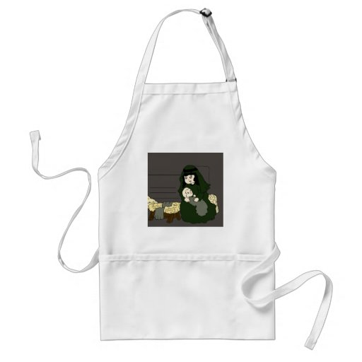 mary and jesus in green adult apron