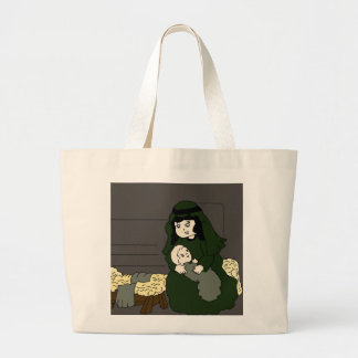 mary and jesus in green large tote bag