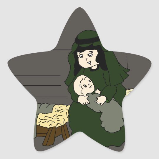 mary and jesus in green star sticker