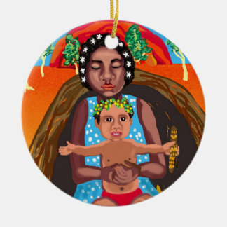Mary and Jesus - message for all cultures Ceramic Ornament