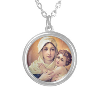 Mary and Jesus Round Pendant Necklace