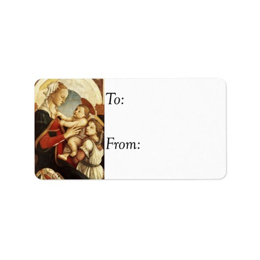 Mary and Jesus With Angel Vintage Gift Tag Label