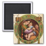 Mary And Jesus With Holly 2 Inch Square Magnet