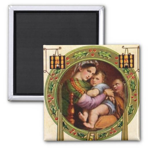 Mary And Jesus With Holly Fridge Magnets