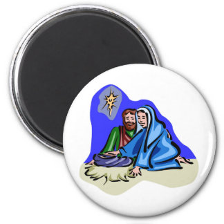 Mary and Joseph Christian artwork 2 Inch Round Magnet