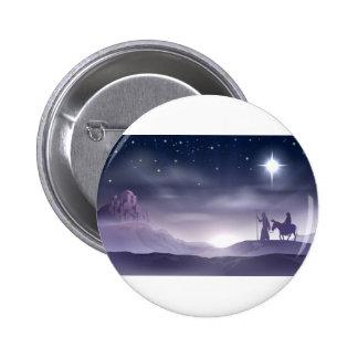 Mary and Joseph Nativity Christmas Illustration Button