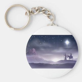 Mary and Joseph Nativity Christmas Illustration Key Chains