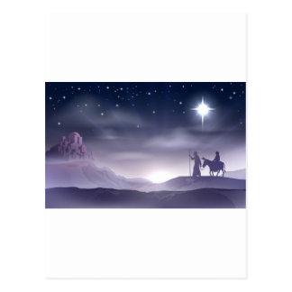 Mary and Joseph Nativity Christmas Illustration Postcard