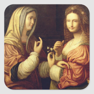 Mary and Martha (oil on panel) Square Sticker