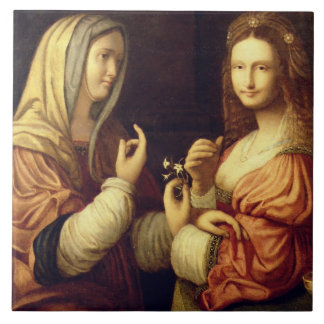Mary and Martha (oil on panel) Ceramic Tiles