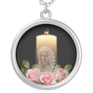 Mary and roses round pendant necklace