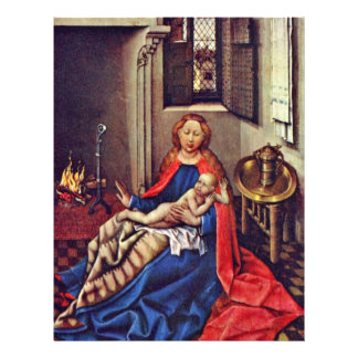 Mary And The Infant Jesus By The Fireplace Full Color Flyer