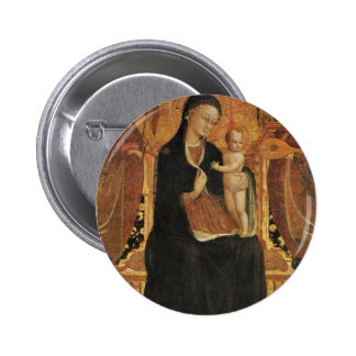 Mary And The Infant Jesus Surrounded By Six Angels Buttons