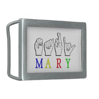 MARY  ASL FINGER SPELLED RECTANGULAR BELT BUCKLE