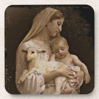 Mary Baby Jesus and Lamb Drink Coaster