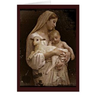 Mary Baby Jesus and Lamb Greeting Card