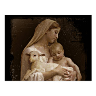Mary Baby Jesus and Lamb Postcard