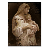 Mary Baby Jesus and Lamb Postcard