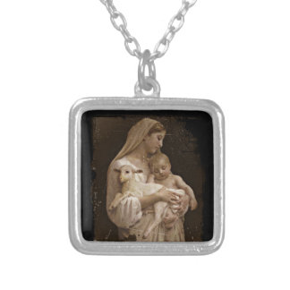 Mary Baby Jesus and Lamb Square Pendant Necklace