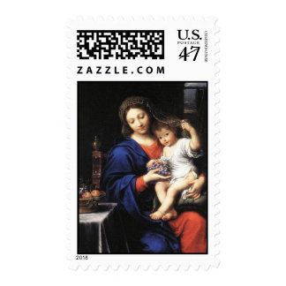 Mary & baby Jesus holding grapes in his hands Postage