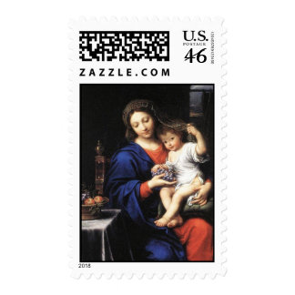 Mary baby Jesus holding grapes in his hands Postage