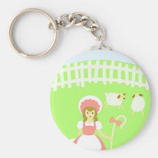 Mary Basic Round Button Keychain