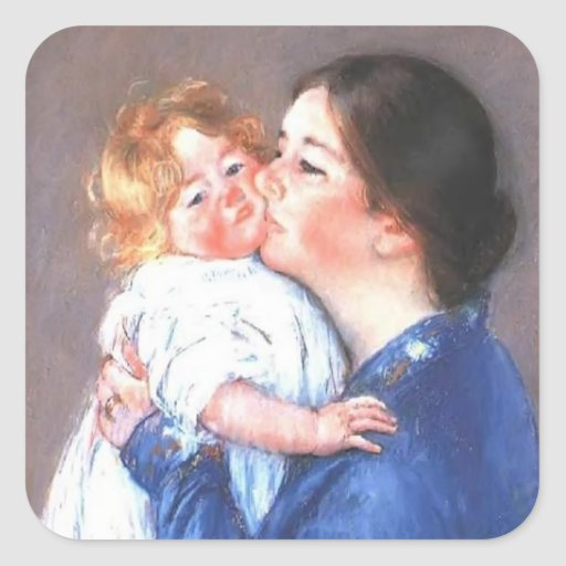 Mary Cassatt: A Kiss for Baby Anne (no.2) Square Sticker