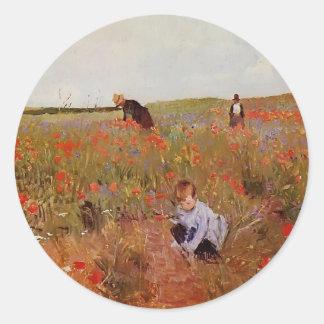 Mary Cassatt: Amapolas rojas Pegatinas Redondas