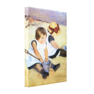 Mary Cassatt Children Playing on the Beach Gallery Wrapped Canvas