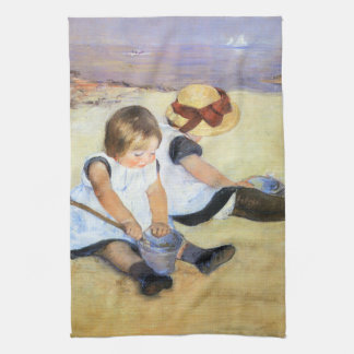 Mary Cassatt Children Playing on the Beach Kitchen Towel