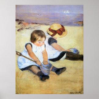 Mary Cassatt Children Playing on the Beach Poster