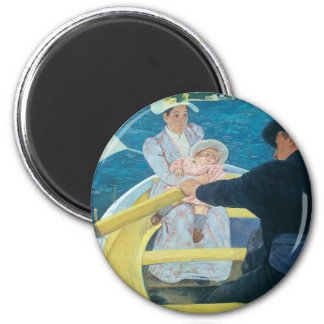 Mary Cassatt - el fiesta del canotaje Imán Redondo 5 Cm