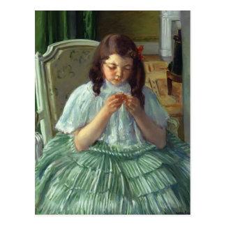 Mary Cassatt- Françoise in Green, Sewing Post Cards