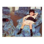 Mary Cassatt Girl in Blue Armchair Fine Art Postcard