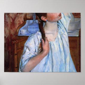 Mary Cassatt- Girl ranging Her Hair Poster