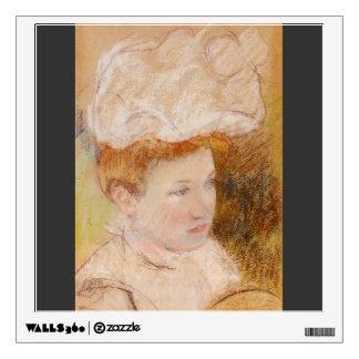 Mary Cassatt- Leontine in a Pink Fluffy Hat Wall Sticker