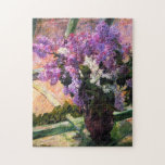 """Mary Cassatt Lilacs Puzzle<br><div class=""""desc"""">Mary Cassatt Lilacs puzzle. Oil painting on canvas from 1880. American artist Mary Cassatt was one of the great female impressionist painters. Lilacs in a Window is a beautiful and simple painting featuring a bunch of freshly cut lilacs in a purple vase sitting on a windowsill. The lilacs are both...</div>"""