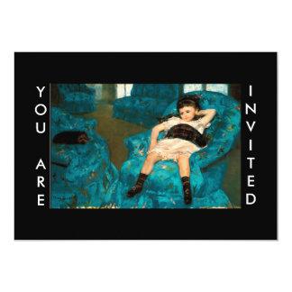 Mary Cassatt Little Girl in a Blue Armchair 5x7 Paper Invitation Card