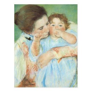 Mary Cassatt - madre y niño Postal