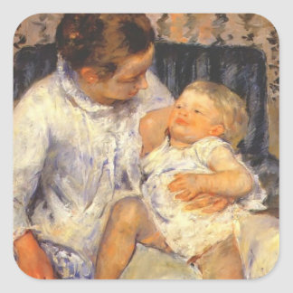 Mary Cassatt-Mother about to Wash her Sleepy Child Square Sticker