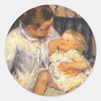 Mary Cassatt-Mother about to Wash her Sleepy Child Round Sticker