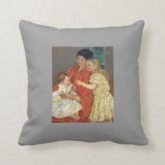 Mary Cassatt- Mother and Sara Admiring the Baby Throw Pillow