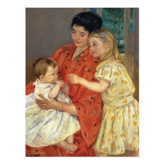 Mary Cassatt- Mother and Sara Admiring the Baby Postcard