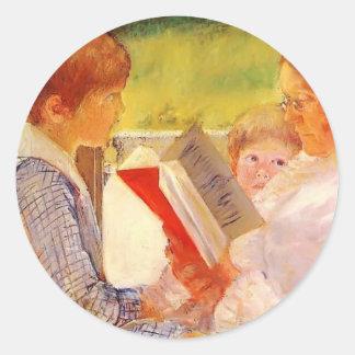 Mary Cassatt- Mrs Cassatt Reading to Grandchildren Classic Round Sticker