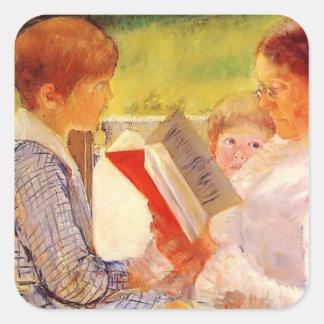 Mary Cassatt- Mrs Cassatt Reading to Grandchildren Square Sticker