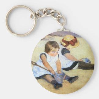 Mary Cassatt Playing on the Beach Key Chain