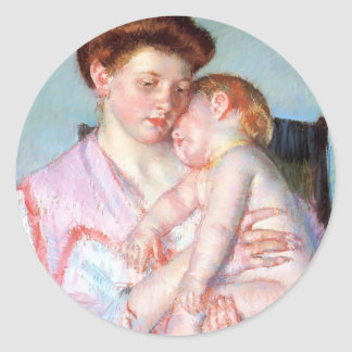 Mary Cassatt Sleepy Baby Round Stickers