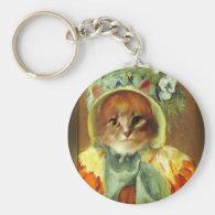 Mary Cassatt's Cat in Bonnet Basic Round Button Keychain